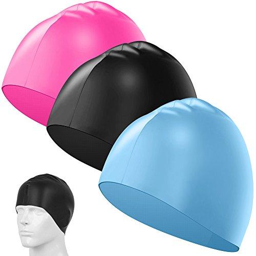 Senhai 3er-Pack Silikon-Badekappen, Unisex, wasserdicht, langlebig, elastisch, für Schwimmer, mit langem, dickem oder lockigem Haar, passend für Kinder, Damen, Herren – hellblau, rosarot, schwarz