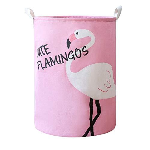 Cesto de ropa sucia intantil con falmenco rosa