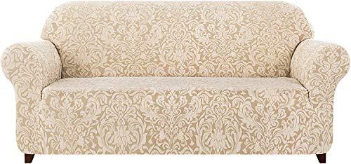 subrtex Damast Sofabezug Stretch Sofahusse Couchbezug Sesselbezug Elastischer Blumenmuster Antirutsch Stretchhusse für Sofa (3 Sitzer, Beige Muster)