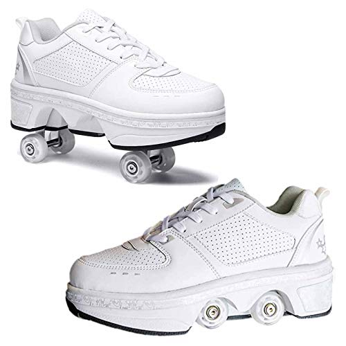 shoes with wheels for adults Fashiums Deformation Roller Shoes with Wheels Kick Rollers Shoes Skates Retractable Adult Skating Shoes for Boys Girls Quad Skates