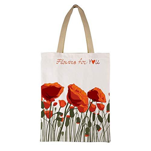 DKISEE Bloemen Herbruikbare Canvas Tote Handtas Milieuvriendelijk Gedrukt Poppies Tas Grote Casual Schoudertas Winkeltas 15