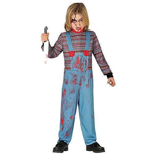 Guirca - Disfraz Chuckie para nio de 10/12 aos, color azul y rojo, de 10 a 12, 87800.