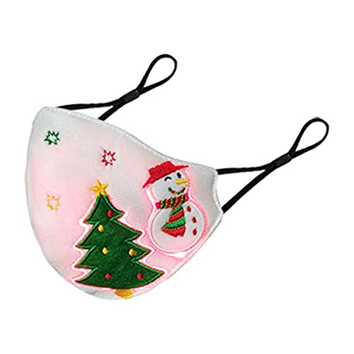 Christmas Luminous Masks,Cute Snowman Xmas Tree Optical Fiber Luminous Fabric,USB Rechargeable Glowing Light up Mask for Christmas Dancing Rave Masquerade Costumes Party Festival (C)