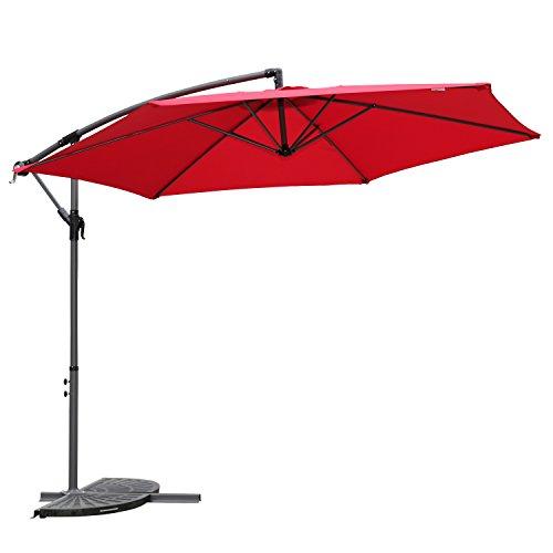 Angel Living 3M Parasol Excéntrico Sombrilla Voladiza con Manivela para Patio Exterior, Grande y Estable (Rojo)