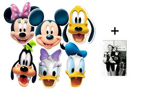 BundleZ-4-FanZ Fan Packs Mickey Mouse und Freunde Karte / Pappe Partei Maske Packung von 6 (Mickey, Donald, Daisy, Pluto, Goofy und Minnie) - Enthält 6X4 (15X10Cm) starfoto