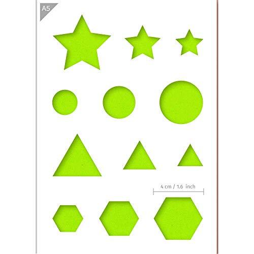 QBIX Primärform-Schablone - Stern, Dreieck, Kreis, Sechseck-Schablone - Größe A5 - Wiederverwendbare kinderfreundliche DIY-Schablone für Malen, Backen, Basteln, Wand, Möbel