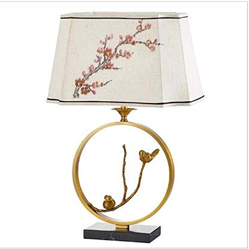 FHUA Lámpara Escritorio Lámpara Creativa Plena Cobre pájaro pájaro paño Cubierta Decorativa Mesa lámpara Nueva China clásica Dormitorio Sala de Estar Estudio Modelo Sala de Mesa lámpara 43x64cm