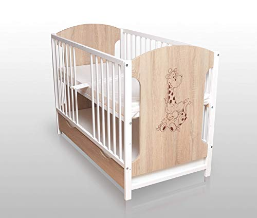Lit bébé Sonoma/blanc 120 x 60 cm avec matelas et tiroir