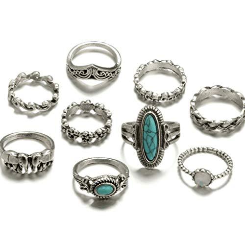 Ogquaton 9 Teile/Satz Böhmischen Türkis Ring Set Vintage Joint Knuckle Ringe Set Ringe Schmuck Geschenk Praktisch