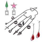 MyPhotoGifts Kurapika 5 Rings Chains Bracelet Kurapika Earrings Cosplay Prop Hisoka Earrings