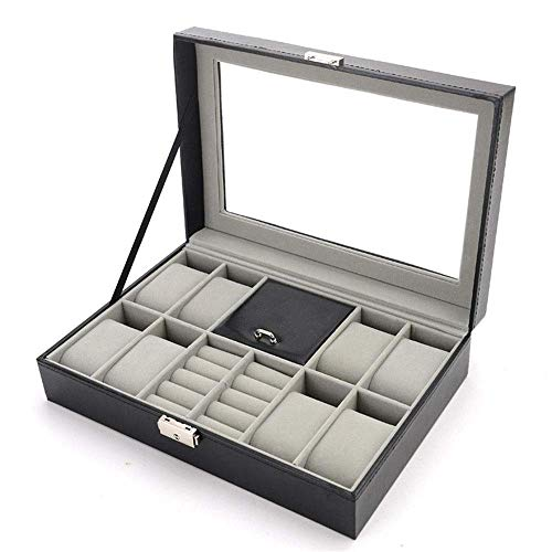 Manyao Watch Display Storage Box Watch Box For 8 Watches Cufflinks And Rings Watch Box (Color : Brown, Size : S) (Color : Brown, Size : Small)