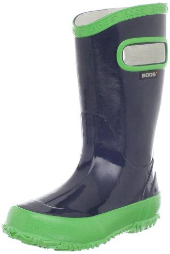 Price comparison product image Bogs Kids Rubber Waterproof Rain Boot Boys Girls,  Navy / Green,  13 M US Little Kid