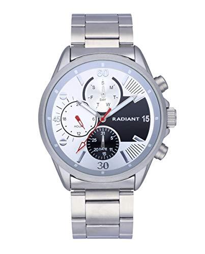 Reloj analógico para Hombre de Radiant. Colección Commander. Reloj con Brazalete Plateado y Esfera Blanca. 5 ATM. 44mm. Referencia RA571703.