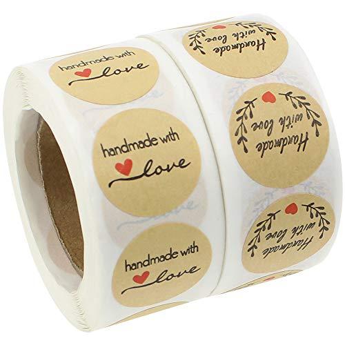 KingYH 1000 Piezas Etiqueta de Papel Kraft Hechas a Mano con Pegatinas de Amor Redondas Etiqueta Autoadhesiva para Navidad Boda Decoración Panadería Bolsas de Regalo Sobre Caja de Dulces