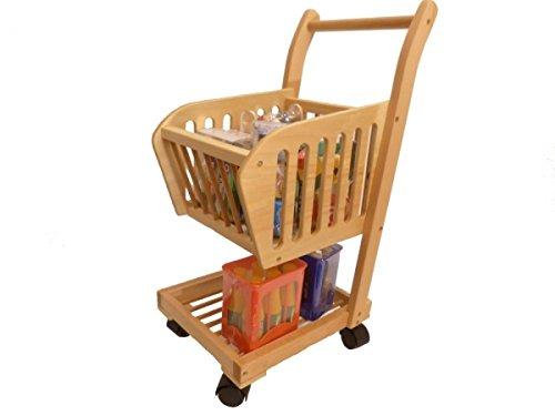 Holzspielzeug-Peitz Kinder Einkaufswagen 3050 Massivholz Einkaufstrolley 4 Räder