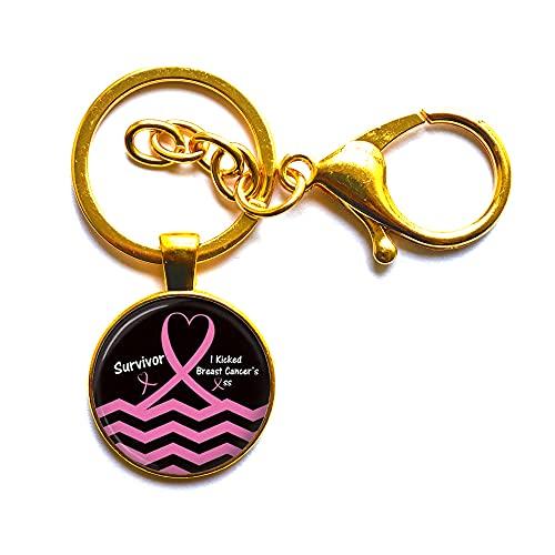 Regalo del cáncer de mama, llavero del cáncer de mama, conciencia del cáncer de mama, joyería del cáncer de mama, llavero minimalista, N216