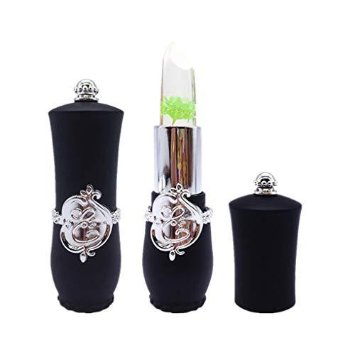 Damen Lipgloss, SHOBDW Neue Schönheit helle Blume Crystal Jelly Lippenstift Magie Temperatur ändern Farbe Lippenbalsam Make-up (Schwarz-E)