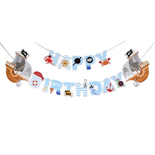 Amosfun alles Gute zum Geburtstag Banner Pirat Thema Bunting Banner Geburtstagsparty Banner Dekorationen gastgeschenke hängen Bunting Girlande für Kinder Geburtstag Dekorationen 1 stück