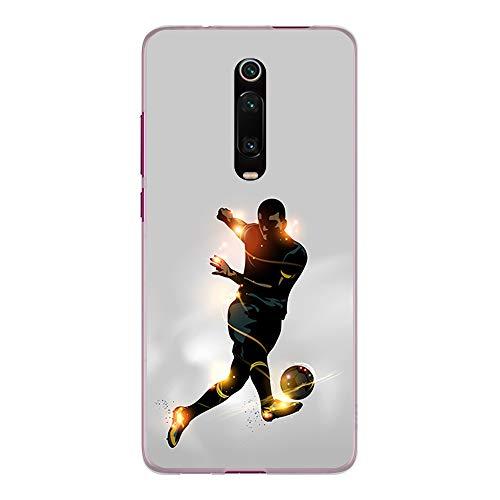 BJJ SHOP Funda Transparente para [ Xiaomi Mi 9T / Redmi K20 / Redmi K20 Pro ], Carcasa de Silicona Flexible TPU, diseño: Futbolista chutando la Pelota, luz de energia