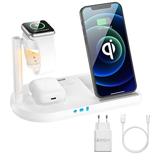 Kabelloses Ladegerät, 15W Fast Wireless Charger, 4 in 1 Qi-Zertifiziert Induktive ladestation für Apple Watch 6/5/4/3/2/1, iPhone 12/SE/11/X/XR/Xs Max/8, Airpods Pro/2(Mit 18W QC 3.0 Adapter)