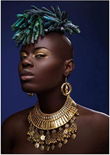 NC87 Arte de Figura Africana para Mujer, Carteles de Pintura en Oro Negro, decoración para Sala de Estar, impresión en lienzo-60X80Cm sin Marco