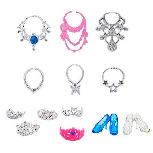 Juego de 13 joyas para muñecas que incluye 5 coronas, 6 collares, 2 pares de zapatos de cristal, lindos y exquisitos, accesorios para muñecas de moda para niñas, regalos de cumpleaños