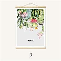 現代の北欧の装飾プリントポスターキャンバスサボテンの植物男の子の女の子の部屋の装飾のためのスクロールハンガー,B,50*40CM