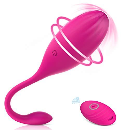 Masajeador Portátil, 10 Modos de Frecuencia, Silicona Suave, Impermeable, Carga USB (Rosa...