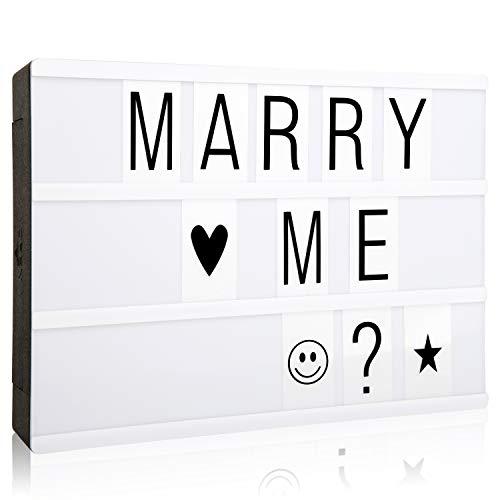 Caja de luz cinemática con 90 letras, números y emojis, tamaño A4, señal de cine con mensaje LED para decoración del hogar, fiesta de Navidad, boda, cumpleaños, opción de regalo ideal para Navidad