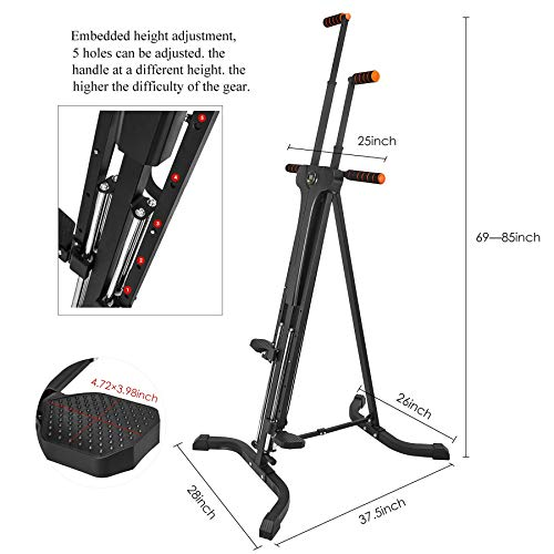 RELIFE REBUILD YOUR LIFE Vertical Climber for Home Gym Folding Exercise Cardio Workout Machine Stair Stepper Newer Version (Renewed)