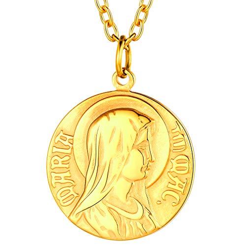 FaithHeart Virgen María Moneda Acero Inoxidable Colgante Redondo Pequeño Oro Amarillo 18K Cadena Rolo Ajustable Disco Circular de Hombres y Mujeres Silueta Lateral