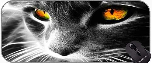 Mousepad de Goma Antideslizante XXL Antideslizante con Bordes cosidos Cat de Arte Alfombrilla de ratón con Bordes cosidos