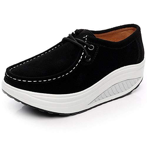 Shenn Mujer Plataforma Cuña Aptitud Ambulante Negro Ante Cuero Entrenadores Zapatos 1061 EU40