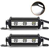 Willpower 4 pulgadas 15W barra de luz LED de una sola fila de bajo perfil ultra delgada delgada mini foco de luz con soporte de montaje para SUV ATV barco camión - 2 piezas