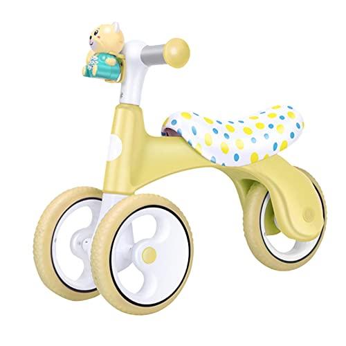 luukiy Bicicleta Sin Pedales para Niñas Y Niños De 6-48 Meses Bicicleta Equilibrio De Altura Ajustable Triciclos Bebes Correpasillos Bebe 1 Año Regalo(Amarillo,Rosa,Verde,1pcs)