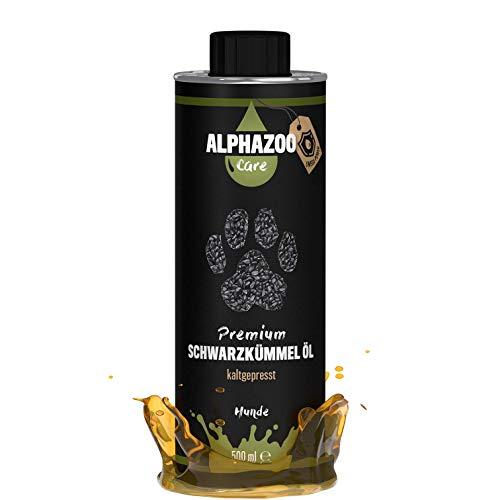 alphazoo Premium Schwarzkümmelöl für Hunde 500 ml, veganes Futter-Öl zur Fellpflege unterstützt Immunsystem sowie Vitalität, natürlich kaltgepresst und reich an ungesättigten Fettsäuren