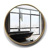 DERUKK-TY Espejo de pared circular grande redondo dorado HD plata espejo para decoración de pared baño entrada dormitorio maquillaje espejo tocador 50/60/70 cm (tamaño: 70 cm)