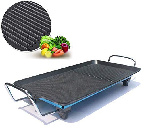 Nonstick Electric Indoor Electric Smokeless Teppanyaki Tafel, met 5 niveaus instelbare temperatuur Cool Touch handvatten, Oversized kookplaat 24X40cm for Indoor Outdoor ZHW345
