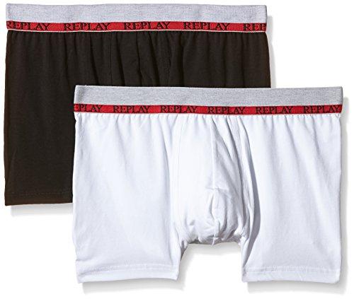 Replay Herren Boxershorts Pack 2 Retro Noos Boxer Shorts, Weiß (Weiß/Schwarz), Small (herstellergröße: Small)