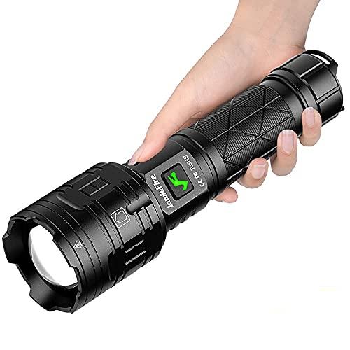 Wwman Linterna Táctica Recargable USB Súper Brillante Zoom LED, 5 Modos, Impermeable IPX5, 3000 Lúmenes, Linternas con Interfaz Dual, Antorcha de Mano para Camping, Senderismo, Militar, Emergencia