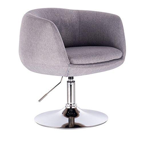 WOLTU® BH70hgr 1 x Barsessel Loungesessel mit Armlehne, stufenlose Höhenverstellung, Leinen, Hellgrau