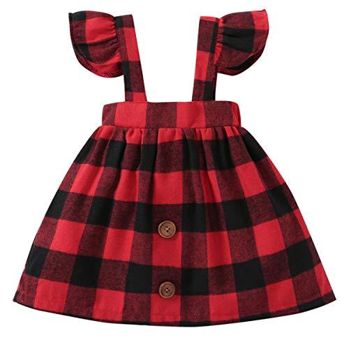 Fairy Baby Filles Toddler Rouge vérifié Plaid Robe Bébé Jupe Brace Ancien Onesie Size 80(6-12 Monate) (Gitter)
