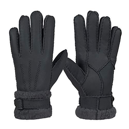 Guantes para Hombres y Mujeres Guantes calientes del cuero de los hombres otoño invierno guantes calientes de lana térmica Fleece Nieve mitones al aire libre de los cinco dedos de la muñeca Guantes de