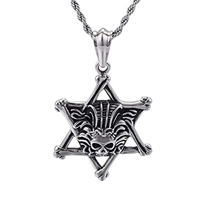 Gungneer Punk Star Skull Pendant Necklace Stainless Steel Gothic Punk Vintage Jewelry Accessory