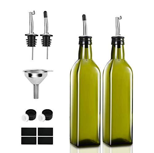 PANENDIANO Olivenöl Spender Flasche 2PCS 250ML mit Ausgieße Speiseöl Essig Messspender Set mit Trichter für Küche Grill Pasta Salate und Backen