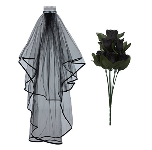 Halloween Corpse Bride Wedding Veil Roses Fancy Dress Day Of The Dead Party Flowers