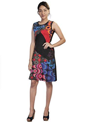 Vestido de Las Mujeres del Verano sin Mangas con Colorido Círculo de impresión y Patch Diseño