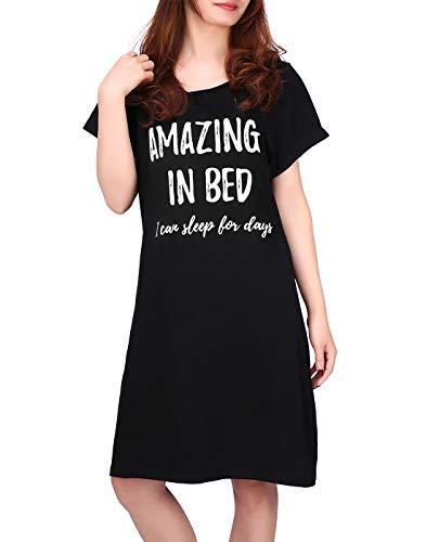 HDE - Camisa de Dormir de algodón para Mujer, Manga Corta, Estampado de camisón de Noche, S-5X, Amazing in Bed, 4X / 5X