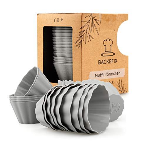 Backefix, pirottini per muffin in silicone, più resistenti, più grandi e di alta qualità, 24 pezzi