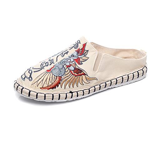 CTEJ Alpargatas Zapatos de Hombre Caminando Zapatillas Plano de holgazán Sandalias de Verano de Playa Transpirables Bordados de Flores Coloridas jardín de Ocio al Aire Libre Zapatillas,01,42